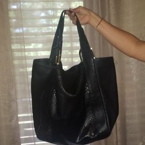 Authentic Gucci leather and python handbag